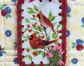 Vintage Playing Card Book Mark / Ornament / Tag - Winter Cardinals