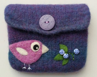 Felted pouch dark violet blue wool bag cozy hand knit needle felted violet birdie roses