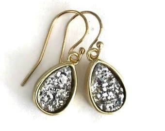 Gold and titanium druzy drop earrings
