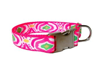 2017 Come Out of Your Shell (Geo) Dog Collar Made from Lilly Pulitzer Fabric Size: M, L, XL