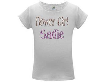 Personalized Wedding Shirt for the Flower Girls - glitter personalization , choose colors/ silver and pink, any colors