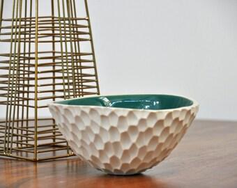 SALE Small Jade Coneflower Bowl - Carved Ceramic Serving Bowl Blue Green White Ceramic Bowl