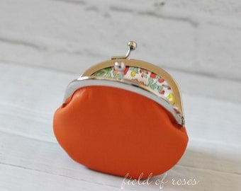 Small Leather Coin Purse Bright Orange with Liberty of London Floral Lining