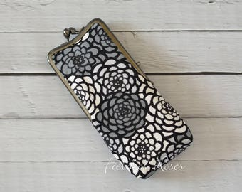 Kisslock Eyeglasses Case Sunglasses Case Japanese Kimono Floral Chrysanthemum Gray Black White