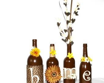 Brown Tan Decorated Wine Bottles HOME Design Floral Painted Handmade Gift House Warming