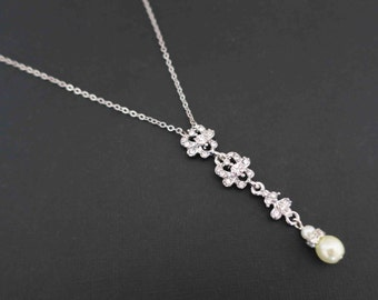 Bridal Necklace Art Deco Pearl Drop Wedding Necklace Statement Bridal Jewelry Bridesmaid Jewelry Rhinestone Delicate Pendant Classic Sukran