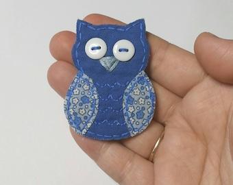Owl Magnet, Fabric Owl Magnet, Magnet, Owl Accessory, Fabric Magnet, Scrap Fabric Owl Magnet