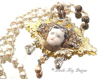 Queen For A Day Necklace Wearable Art Doll Pendant OOAK Statement Necklace Doll Head Assemblage Necklace Lorelie Kay Original