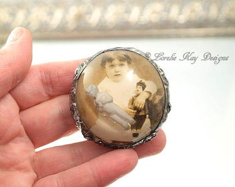 A Girl and Her Doll Soldered Resin Dome Brooch Frozen Charlotte Cast Resin Pin Broach Lorelie Kay Original