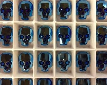 Pair Swarovski Crystal Skull Flat Back Flatback Hot Fix Hotfix Metallic Blue Iron Man Cobalt Sapphire Gunmetal Science Fictiion Sci Fi Two