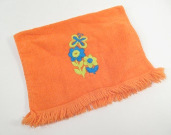 Vintage finger towel, orange with butterfly and daisies, hippie flower power, neon colors