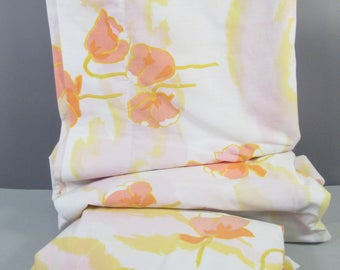 Vintage queen sheets, queen sheet set, mid century modern, hollywood regency, orange tulips, pink yellow white floral print