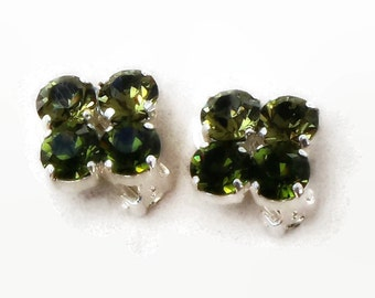 Swarovski crystal 8mm fancy stone olivine and khaki  bright  silver  plated clipon earrings