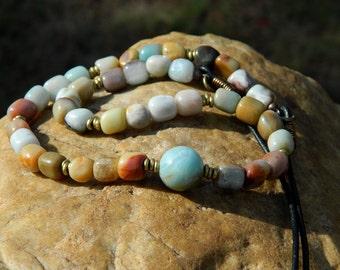 Boho Amazonite Nuggets Gemstone Necklace