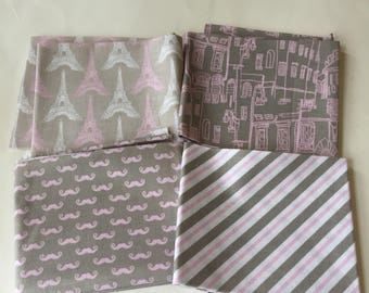 Pepe goes to Paris in Pink and Gray fat quarter set of four