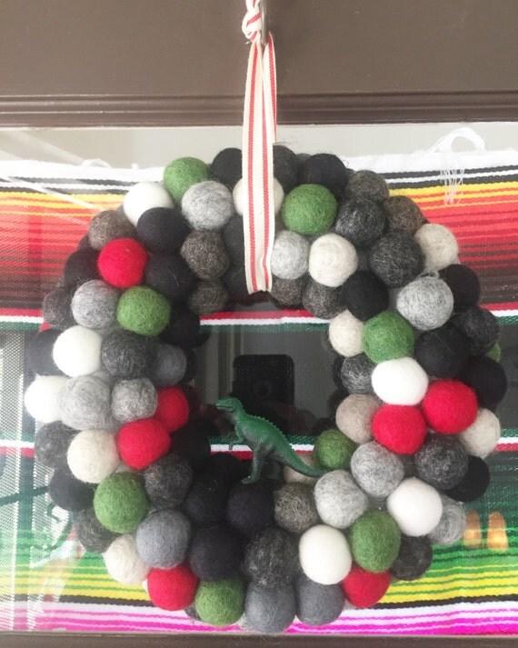 """10"""" diameter Felt Ball Wreath with Dinosaur"""