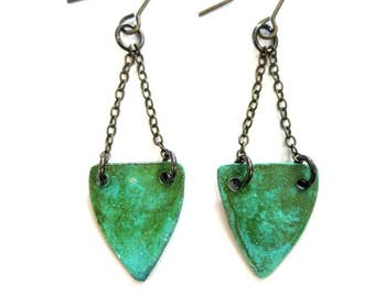 Patina Shield Earrings