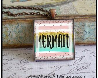 Mermaid pendant, original art pendants,mermaid jewelry, gift box, mermaid pendants,beach pendants,dream,mermaids,glitter,beach,resort,ocean