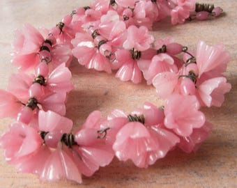 Vintage Venetian Molded Pink Flower Cluster Glass Beads on Wire Necklace