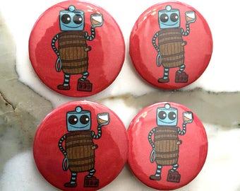 Whiskey Barrel Robot Pin Back Button