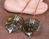 RESERVED for ANNE  Artisan Lampwork Glass Leaf Headpins Pair Divine Spark Designs SRA