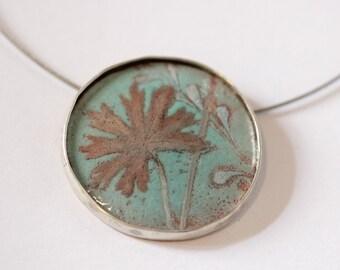 Botanical Necklace - Hand Painted Enamel - OOAK