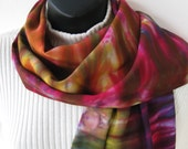 Womens Scarf Hand Dyed Bamboo Scarf Colorful Spring Scarf Boho Fashion Scarf for women Gift for her unique handmade gift wearable fiber art