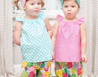 Baby Beach Outfit - Baby Outfit -  Baby Summer Outfit - Toddler Pineapple Outfit -  Shorts - Peasant Top - Baby Summer Clothes- Beach Set