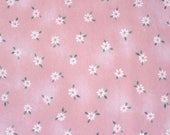 Pink Flannel Fabric Cotton Sewing  South Sea Imports Hungry Animal Alphabet J. Wecker-Frisch White Daisies Pink Background