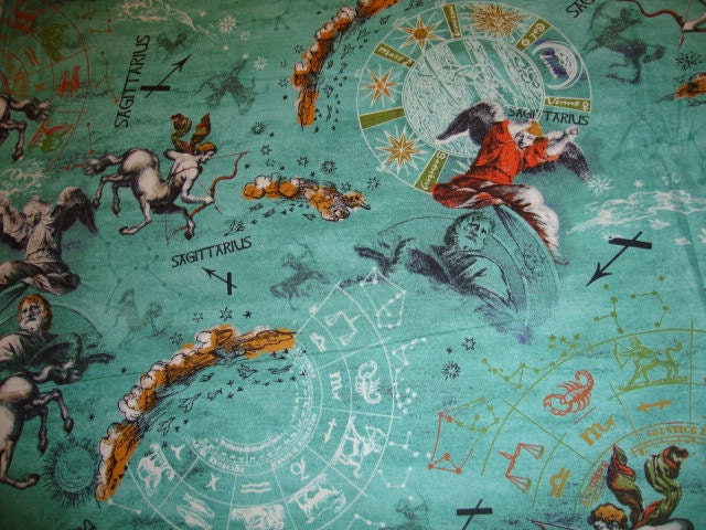 Sagittarius new dawn zodiac print fabric yardage by for Astrology fabric