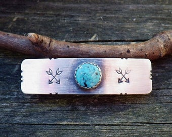 20% OFF TODAY Blue turquoise sterling silver barrette SMALL