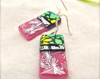 Dichroic Fused glass earrings, Fused jewelry, statement earrings, Valentine's day, Hana Sakura Designs, Handmade earrings, Dichroic beads