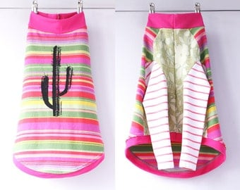 whippet COURTNEYCOURTNEY upcycled jersey tshirt outfit top sweater southwest silkscreen style pink cacti pink stripes