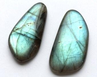 Gemstone Cabochon Labradorite Free Form Parcel TWO CABS