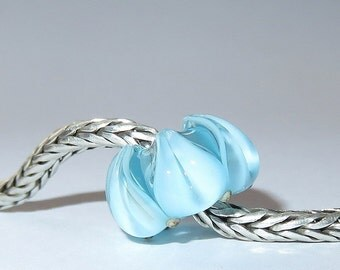Luccicare Lampwork Bead - Ice Lotus -  Lined with Sterling Silver