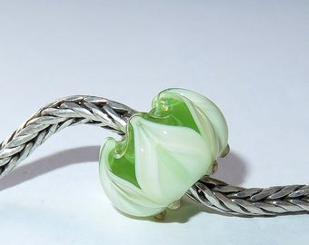 Luccicare Lampwork Bead - Layered Spring Lotus -  Lined with Sterling Silver