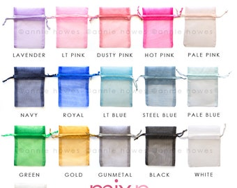 100 Colorful Organza Bags. Choose your Colors. 3x4 Inch. OB3X4