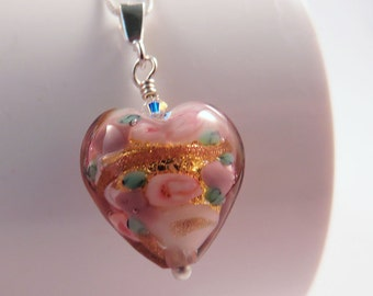 Murano Glass Heart Necklace, Pink, Green and Gold Pendant on Sterling Silver Chain, Romantic Flower Design, Mother's Day Gift for Her