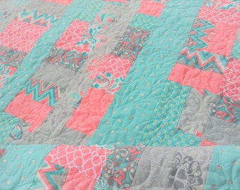 Modern Baby Girl Quilt in Aqua, Coral Pink and Gray - One of a Kind - Handmade Heirloom Quality Quilt Baby Toddler Bed Quilt