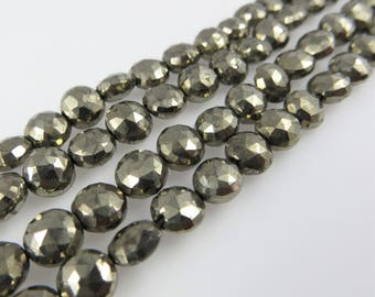 6mm - 7mm Faceted Pyrite Beads - Full Strand