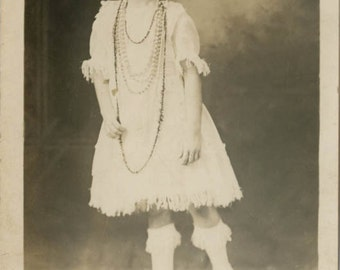 vintage photo 1918 Young Girl Spec American Indian Beads Princess Costume RPPC
