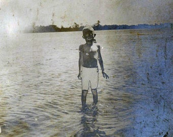 vintage photo 1910 RARe Unusual ABSTRACT Solarized Snapshot Boy in Lake Swimsuit blackface