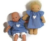 8 inch Waldorf style doll dress, blue gingham dress and optional bloomers, small baby doll clothing