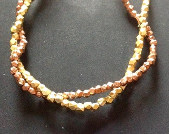 Sixty-three Faceted Beads in Gold, Silver, Copper, faceted, 2mm, accents, 21 each color accent spacer metal beads
