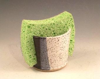 Stoneware Sponge Holder - Ceramic Sponge Saver - Kitchen Accessory - Small Cup Dispenser - Speckle White, Black, Gray - Ready to Ship h470