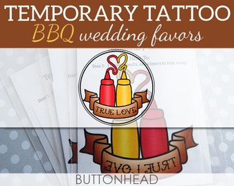 12 BBQ Wedding Favors - Wedding BBQ - Backyard Wedding - Party Favors - Ketchup and Mustard Temporary Tattoos