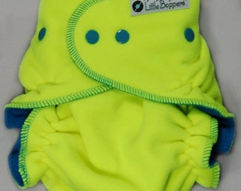Cloth Diaper Cover Made to Order - Wind Pro Fleece - Neon Yellow Windpro - You Pick Size and Trim Color of Snaps and Serging Thread