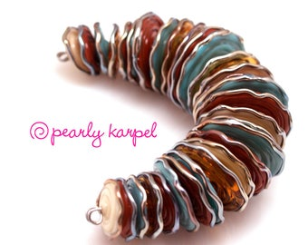Amber, brown and light blue disc lampwork beads SRA set of 28 with Lampwork glass beads handmade lampwork, jewelry supplies artisan beads