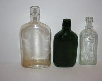 Vintage Glass Medicine & Whiskey Bottles