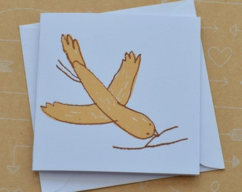 Bird and Twig Tiny Screenprinted Card